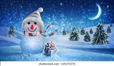 Happy New Year with Snowman and Christmas
