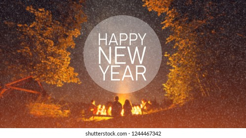 Happy New Year. Start Concept. Blurred image background. The fire at night