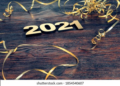 Happy New Year. Symbol from number 2021 on abstract background