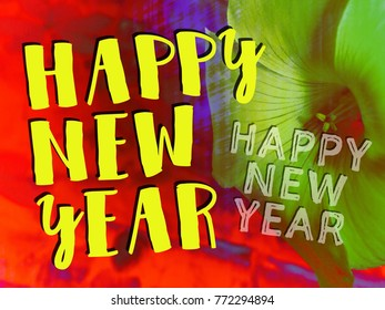 'Happy New Year' text. Contemporary festive design.