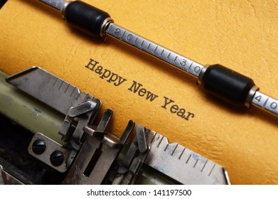 Happy new year text on typewriter