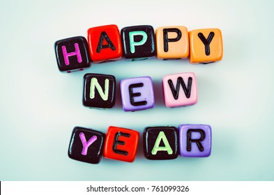Happy New Year text vintage.