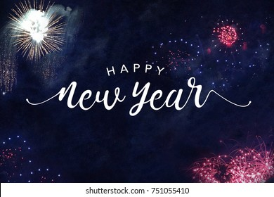 Happy New Year Typography with Fireworks in Night Sky