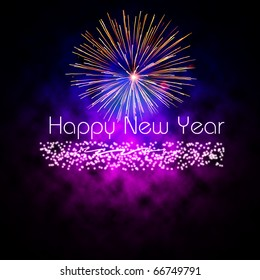 Happy New Year vector with cloudy effect