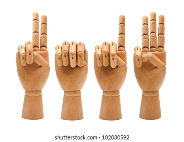 happy new year with wooden hands forming number 2013