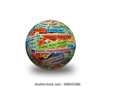 Happy New Year  Word Cloud printed on colorful paper different languages on 3d sphere
