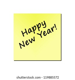 happy new year written on a memo