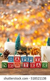 Happy New Year Written With Toy Blocks On Christmas Card Vertical Background With Copy Space.