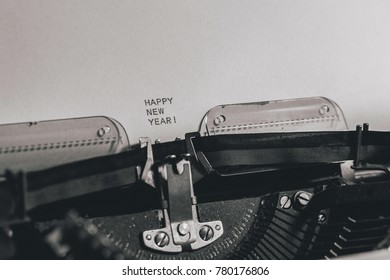 Happy new year wrote with an old typewriter.