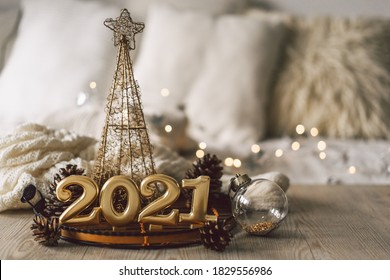 Happy New Years 2021. Christmas background with fir tree, cones and Christmas decorations. Christmas holiday celebration. New Year concept. - Shutterstock ID 1829556986