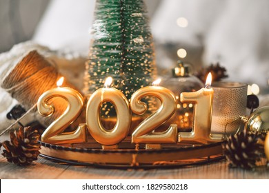 Happy New Years 2021. Christmas background with fir tree, cones and Christmas decorations. Christmas holiday celebration. New Year concept. - Shutterstock ID 1829580218