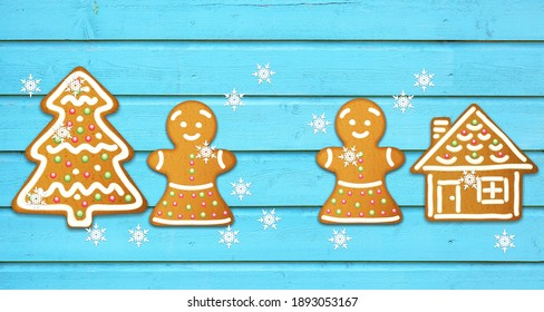 Happy New Year's set of the gingerbread man from ginger biscuits glazed sugar icing decoration