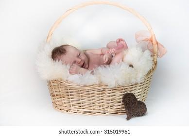 Happy newborn Baby in Basket
