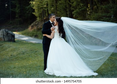 Happy newlywed. The bride and groom embrace on the nature in summer day. The lovely couple in love walking. Bride letting her veil flutter in the wind, romantic photo. Beautifully fluttering veil