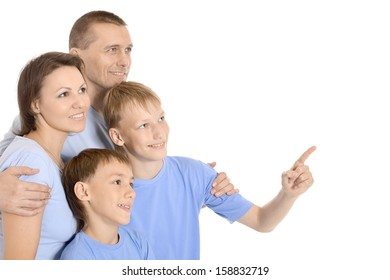 happy nice family on white background together