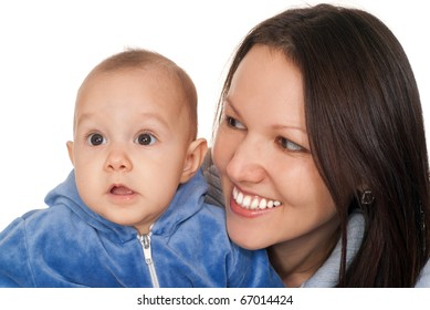 happy nice mom holds her the baby