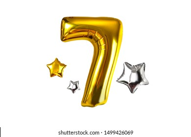 Happy number seven of golden helium balloon, isolated on white