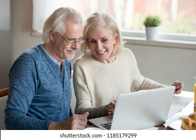 Happy old family couple talking using laptop having breakfast together, surprised excited senior woman looking at computer screen showing smiling middle aged husband online shopping sale on web site