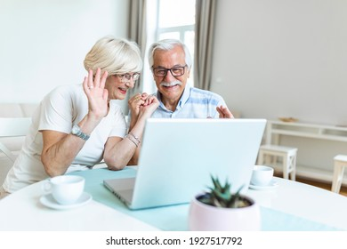 Happy old family couple talking with friends and family using laptop , surprised excited senior woman looking at computer waving and smiling.