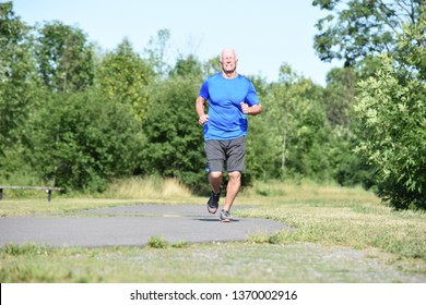 Happy Old Grandpa Jogging
