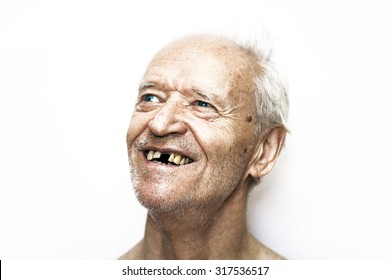 happy old man with blue eyes and gray hair