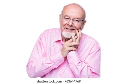 Happy old man looking at camera and smiling. Healthcare. Retirement. Isolated over white.