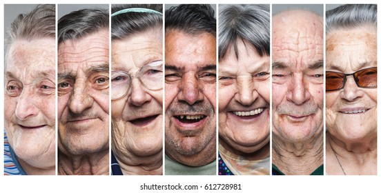 Happy old people. Portrait collage of delighted, smiling elderly men and women