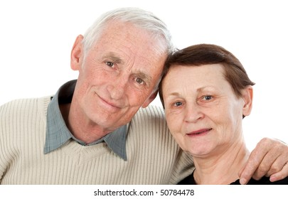 Happy older couple isolated on white