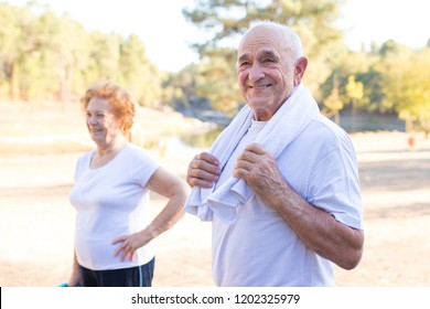 happy older people doing outdoor sports
