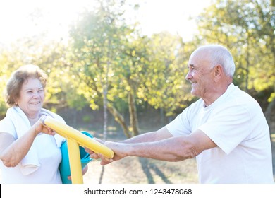 happy older people doing outdoor sports, couples