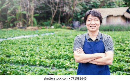 Happy owner asian man working and gardening his farm, nursery worker planting in the orchard, small business owner banner concept