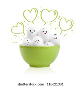 Happy painted eggs in a bowl, isolated on white