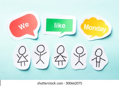 Happy paper people with speech bubbles of We like Monday text on the blue background.