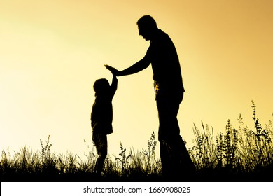 happy parent with child in the park outdoors silhouette