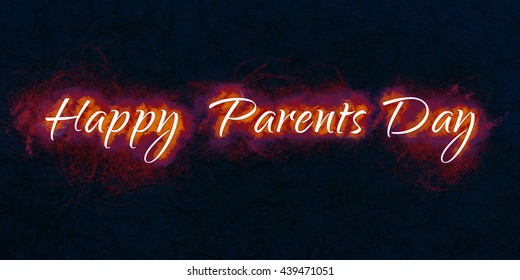 Happy Parents Day. Artistic illustration on dark background.