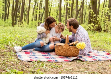 Happy parents enjoying picnic day with kid