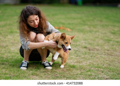 Happy pembroke welsh corgi dog with the owner girl on green grass