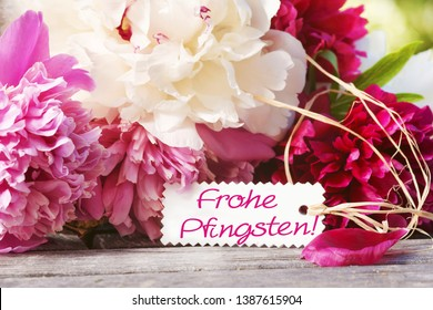 """""""Happy Pentecost!"""", Colorful peonies with shield"""