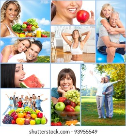 Happy people collage. Healthy lifestyle. Diet.