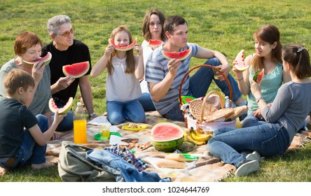 Happy people of different ages sitting and talking on picnic together