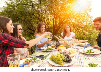 happy people enjoy their al fresco garden party in the late afternoon drinking wine and having some salad and a variation of cheese and salami sausages. there are four women and one man at the table.