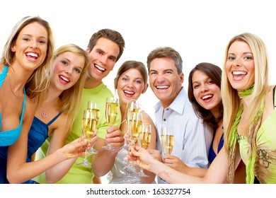 Happy people with glasses of champagne. Christmas party.