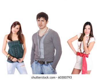 Happy people, isolated on white background