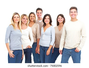 Happy people. Isolated over white background. Students.
