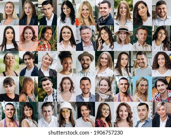 A lot of happy people, Portraits of group headshots in collage mosaic collection. Many smiling multicultural faces looking at camera. Human resource society database concept.