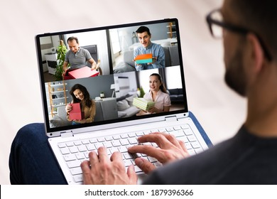 Happy People Receiving Gift Box Package In Online Party Celebration - Shutterstock ID 1879396366