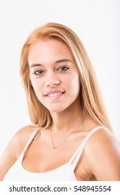 happy perfect blonde teenager girl portrait