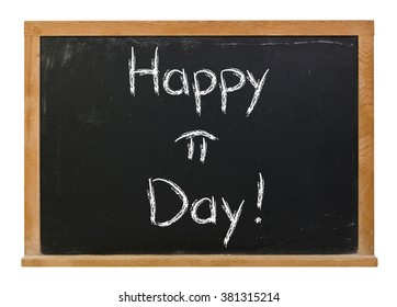 Happy Pi Day written in white chalk on a black chalkboard isolated on white