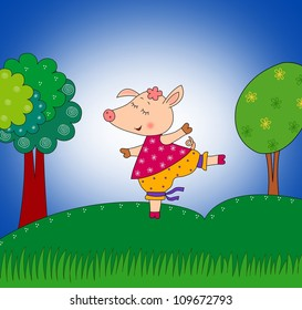 Happy pig.Cartoon character. Colorful graphic illustration for children
