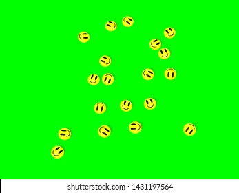 Happy Pills Scattered Over Green Background